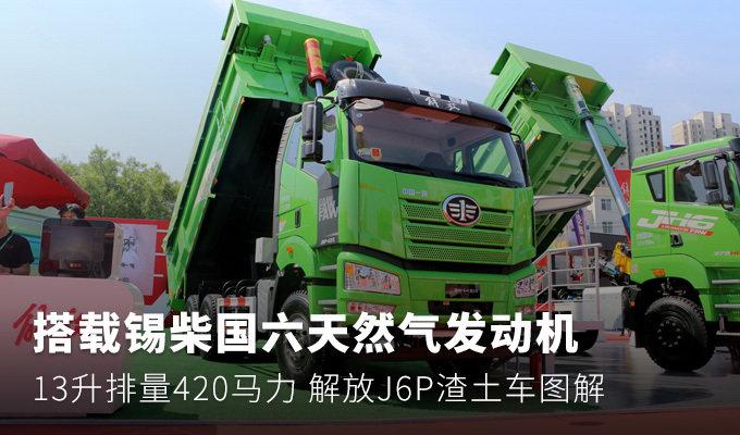 天然气国六420马力 解放J6P渣土车图解